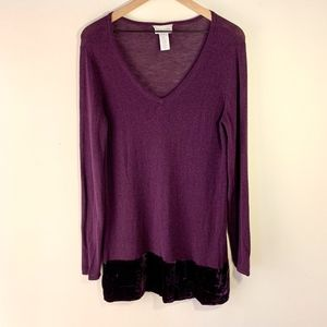 Soft Surroundings Purple Velvet Trim TunicSweater